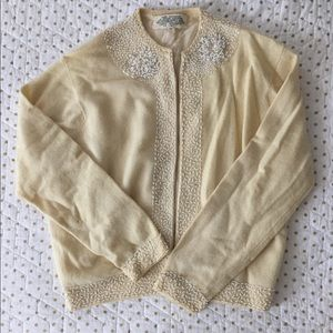 Vintage 1950's Hand Beaded Wool Cardigan Size 38